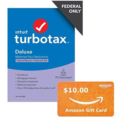 TurboTax Deluxe 2020 + $10 Amazon Gift Card Bundle Now $29.99