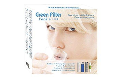 VDF Green Filter, Recambio 3 Filtros y 1 Posfiltro para Ósmosis Domésticos