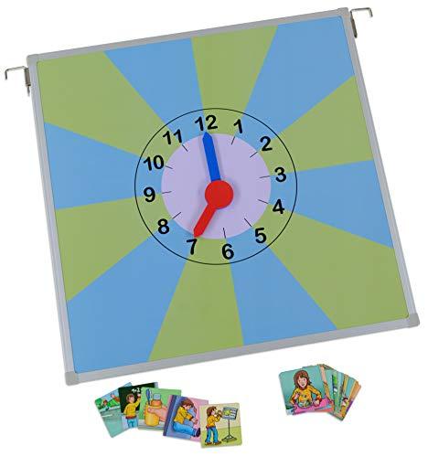 Betzold 87289 - Uhr zum Tagesablauf – Uhrzeit Lernen mit Magnetbildern, Uhr ablesen, Zeit einteilen