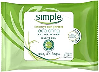 Simple Kind Exfoliating Facial Wipes - 25 per pack - 6 packs per case.