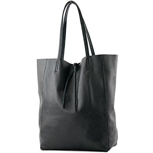 modamoda de - T163 - Ital. Shopper Large mit Innentasche aus Leder, Farbe:Schwarz