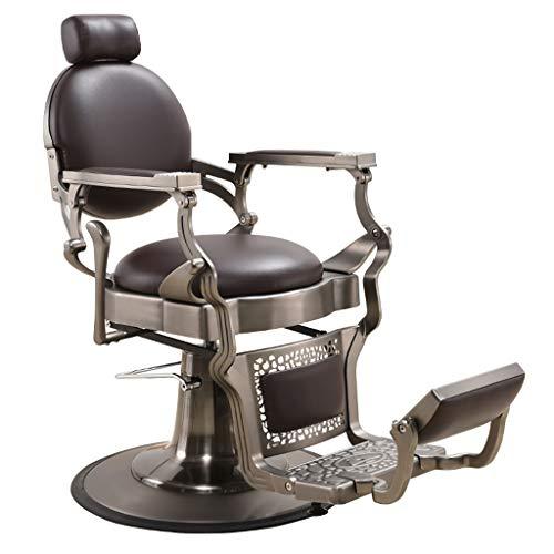 HSRG Silla de Peluquero Vintage de Metal Resistente, Silla de salón reclinable hidráulica para salón,…