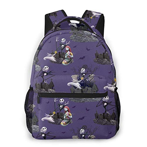 School Daypack Backpack, Big Capacity Rucksack for School Picnic Running, The Nightmare Before Christmas Travel Hiking Backpack for Girls Boys, Back to School Gift