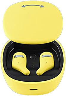 Semoic 5.0 Earphones Earbuds with Charging Box Waterproof Sports Headsets for Android for (Yellow)