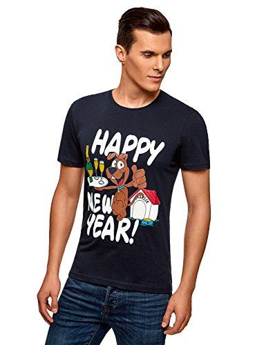 oodji Ultra Hombre Camiseta de Algodón con Estampado Navideño, Azul, ES 50 / M