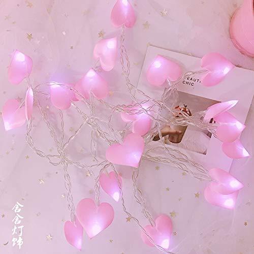 Wonderful Lovely Heart Shap LED String Lights 20leds 3Meter,Holiday Light Decor Kids Room Party Props Curtain (Emitting Color : Pink Heart String)