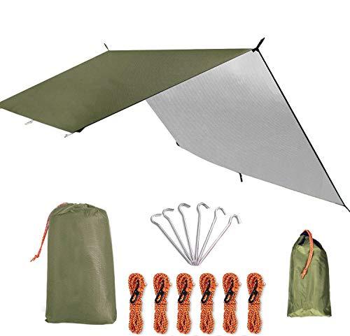 防水タープ 天幕シェード キャンプタープ テントタープ コンパクト 軽量 多機能 ロープ ペグ付き 収納ケース付き 2-6人用 3サイズ (グリーンM(3*3M))