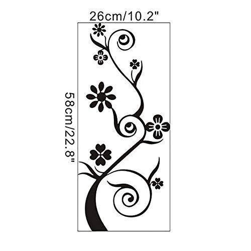 XXZ Wall Sticker Pegatinas de pared con patrón de flores negras para decoración de puertas móviles fijadas con decoración de pared o ventana decoración del hogar