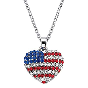 Palm Beach Jewelry Silvertone Round Red White and Blue Crystal American Flag Heart Pendant  16mm  with 18 inch Chain