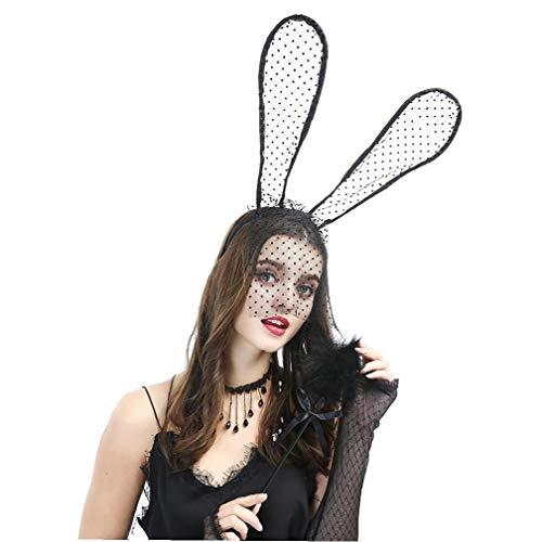 TYY-guang 1pc Sexy Lace Veil Kaninchen-Ohr-Stirnband Damen Sexy Accessoires Niedliche Häschen-Ohren Kopfbedeckung Diskothek Partei-Kopfschmuck Halloween verkleiden für Damen Mädchen, Schwarz