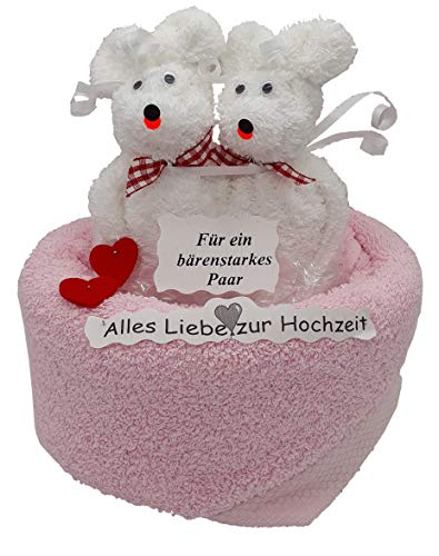 Frotteebox Geschenk Set Bären Hochzeitspaar aus 1x Handtuch rosa (100x50cm) und 2X Waschhandschuh weiß geformt