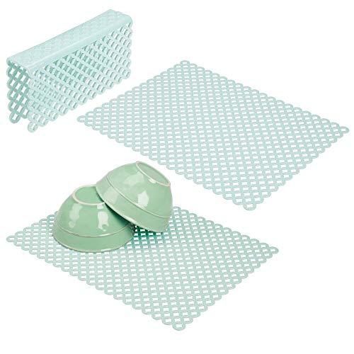 mDesign - Gootsteenmat in 3-delige set - afdruipmat - groot/voor dubbele gootsteen - bescherming tegen krassen - mintgroen