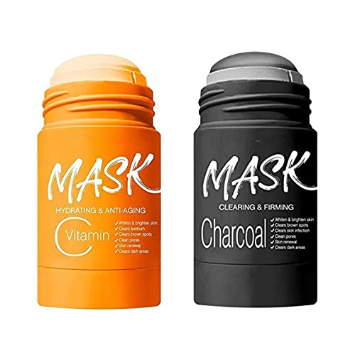 VC/Bamboo Charcoal Purifying Clay Stick Mask Deep Cleansing -Oil Control Beauty, Moisturizing Nourishing Skin,Cleansing Solid Mask ,for Men Women All Skin Types (Orange+Black)