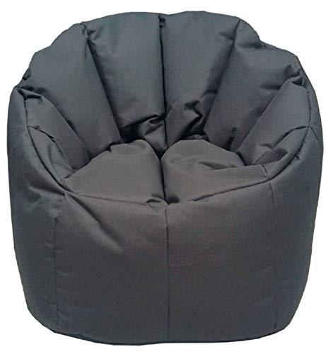 ANTARRIS Sitzkissen Sitzsack Beanbag Outdoor Hocker abwaschbares Outdoorspezialmaterial, Strapaziergeprüft Sitz-Sessel ø 60 H 80 cm bis 120 kg geeignet, versch Farben (grau-Basalt) …