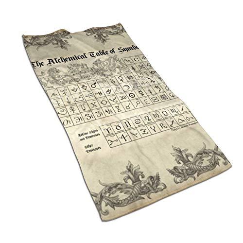 antoipyns Alchemy Symbols Periodic Table Toallas De Microfibra Supersuave, Absorbente, Toalla Multiusos para Ba?o, Gimnasio Y Spa, 27.5 X 15.7 Pulgadas