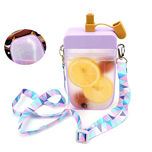 Botellas de agua de plástico a prueba de fugas, 10 onzas (300 ml) lindas botellas de agua con pajitas, jarra de agua sin BPA, correa de hombro ajustable Kawaii Popsicle tazas portátiles (púrpura)