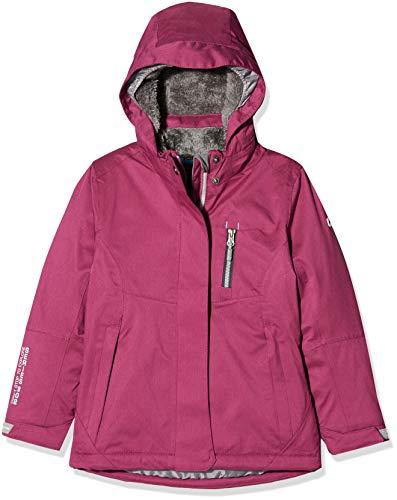 killtec Helina Jr Girls' Functional Outdoor Jacket with Hood Waterproof Water Column 10000 mm, Girls, 34162 000, dunkel himbeere, 140 (EU)