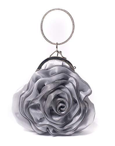 ILISHOP Women's Satin Rosette Bridal Bridesmaid Clutch Flower Wristlet Wedding Handbag Rhinestone Ring Handle Evening Bag (Silver)