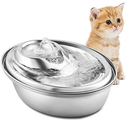 PUPPY KITTY Trinkbrunnen aus Edelstahl für Katzen und Hunde, 2L Ultra-Leise Automatischer Katze Wasserspender Hunde Wasserbrunnen Haustiertrinkbrunnen mit 3 Ersatzfiltern & 2 Silikon-Wassersstöpsel