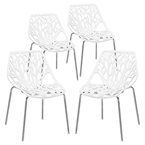 Bonnlo Modern Stackable Chair Set of 4 Kitchen Dining Chair Birch Sapling Comfy Chairs for Indoor Use (White)