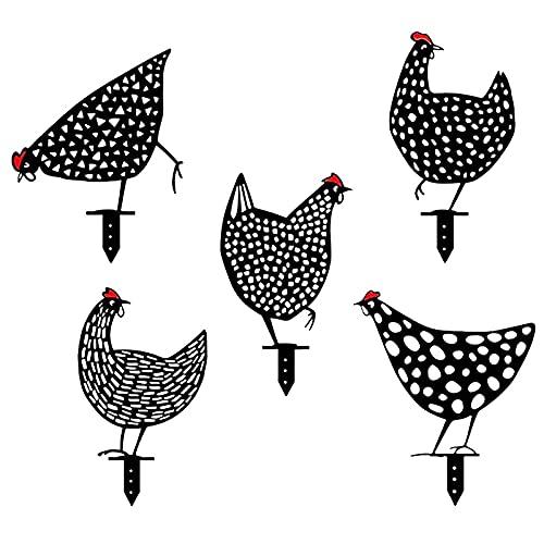 Rost dekoration trädgård kycklingar, metall kycklingar trädgård insatser dekorativa kyckling tecken för utomhus trädgård bakgård gräsmatta dekoration (5 förpackning med svart)