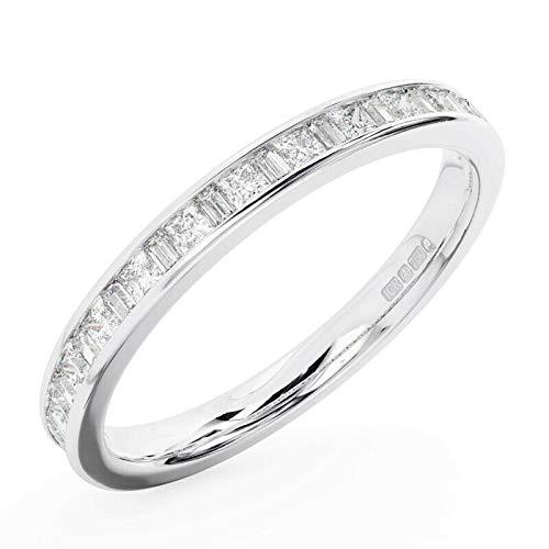 Channel Set Princess & Baguette Cut Diamonds Half Eternity Ring, 18K White Gold