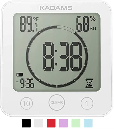 KADAMS Digital Bathroom Shower Kitchen Clock Timer with Alarm, Waterproof for Water Splashes, Visual Countdown Timer, Time Management Tool, Indoor Temperature Humidity, Suction Cup, Hole Stand - White