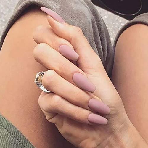 Brishow Coffin Künstliche Nägel, Pink, lange Kunstnägel, künstliche Ballerina-Nägel, volle Abdeckung, Acryl, 24 Stück, für Damen und Mädchen