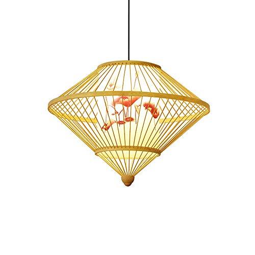 ZGZRXGY Bambú natural tejido de lámpara de lámpara de lámpara de lámpara de lámpara de araña estilo chino colgante retro lightin simple estilo japonés hogar de lámparas de ahorro de energía de doble r