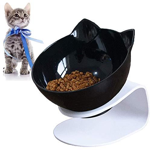 VieVogue Cuenco del Gato, Plataforma Inclinada de 15 ° Comederos para Gatos Doble tazón con Soporte, Elevado Comedero Mascotas, Antideslizante Boles Y Perros Pequeños (1 Bowl)