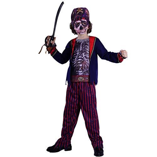 SEA HARE Disfraz de Pirata Zombie de Terror con Esqueleto para Niño (M:7-9 años)