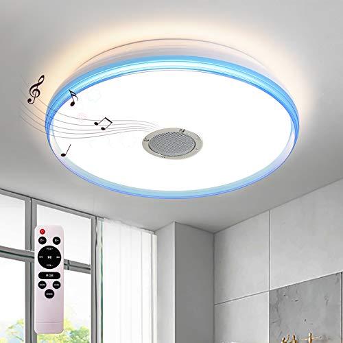 24W Deckenleuchte LED Deckenlamepe mit Bluetooth Lautsprecher, dimmbar mit Fernbedienung, 3000K-6000K, moderne Musik Lampe (40 * 40 * 7cm)