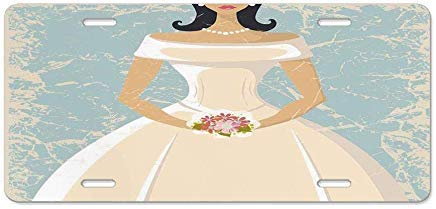Dant454ty Bruids Douche Decoraties, Grunge Sketchy Ontwerp Backdrop Bruiloft Bruid Jurk Art, Lichtblauw en Wit Novelty Decoratieve Front License Plate Frame,Vanity Tag,Metaal, voor Vrouwen