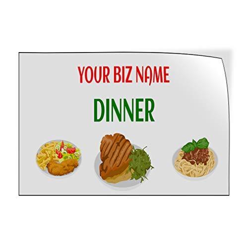 Jeartyca Calcomanías de vinilo para puerta de restaurante y comida verde, 20 x 30 cm, decoración de metal, letreros de metal para exteriores, para decoración de pared