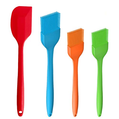 GVKAR Silicone Spatulas & Basting Pastry Brushes Soft Cooking Oil Baking Brush Safe Flexible Heat Resistant BBQ Grill Brushes and Spatula for Kitchen Gadgets Tools Utensils Sets(4 Pack)