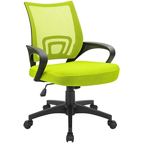 Devoko Office Chair Ergonomic Mid Back Swivel Mesh Chair Height Adjustable Lumbar Support Computer Desk Chair with Armrest (Green)