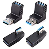 USB 3.0 Adapter Couplers 90 Degree Male to Female,USB Connector Extender Plug Coupler Extender 4PCS (Including Left,Right and Up,Down Angle Adapter)