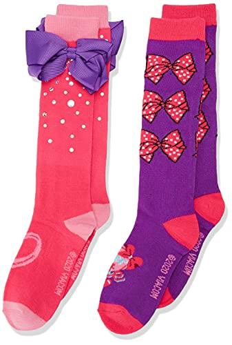 JoJo Siwa girls Jojo Siwa 2 Pack Knee High Casual Sock, Purple Bow, Fits Sock Size 9-11 Fits Shoe Size 4-10.5 US
