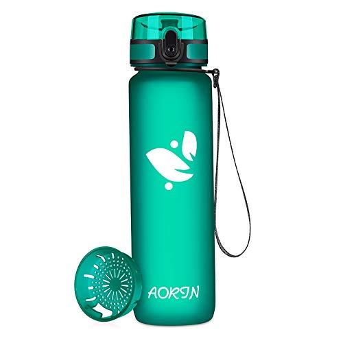 AORIN Botella Agua Deporte -350ml/500ml/750ml/1000ml - Botella Agua Niños Sin BPA,Impermeable y Reutilizable,Apertura con un Solo botón,Aplicar a Sport, Gimnasio, Trekking,Bicicleta