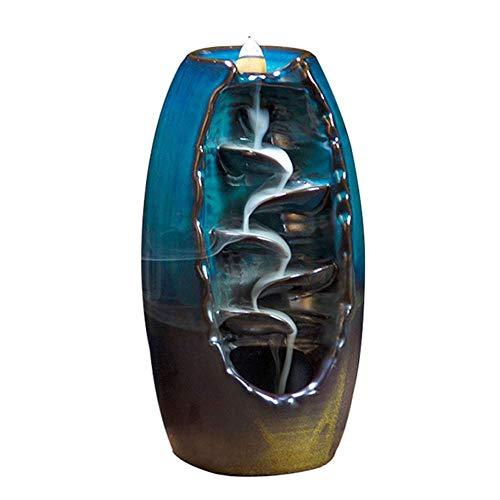 Asseny Räuchergefäß mit Rückfluss, 1 Stück Rückfluss Räuchergefäß Smoking Strömung Keramik Weihrauchbehälter Handwerk für Heim Büro - Blau
