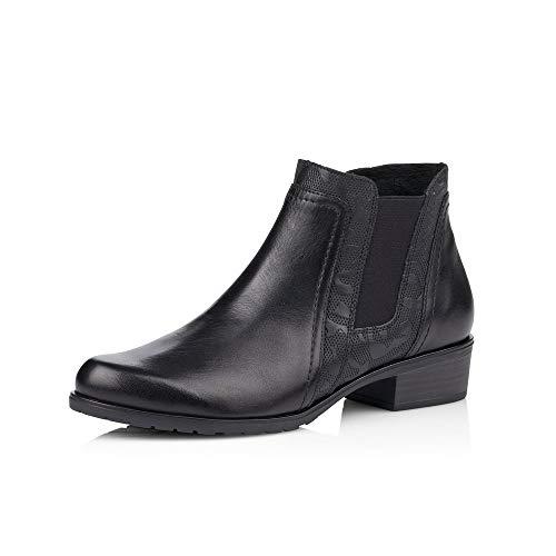 Remonte Damen Stiefeletten, Frauen Chelsea Boots, Stiefel halbstiefel Bootie Schlupfstiefel flach Freizeit leger,Schwarz,44 EU / 9.5 UK