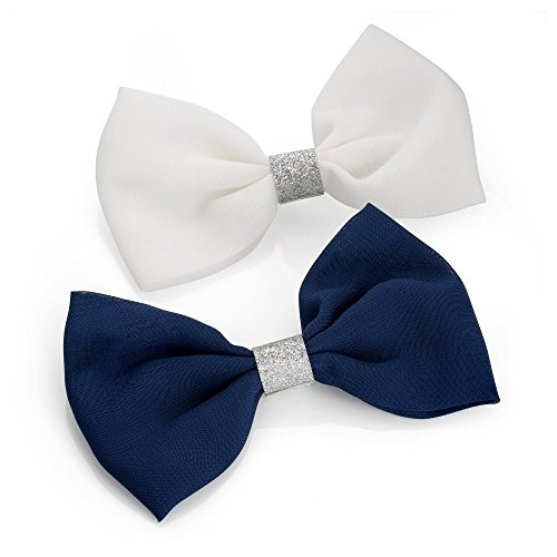 Pair of Large White and Navy Glitter Centre Bow Hair Beak Clips Slides by Pritties Accessories