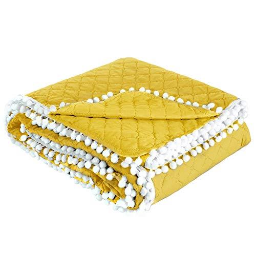 Design91 Sprei, quilt, bedsprei, dubbelzijdig gewatteerd patroon met pompon van pompon, kunststof, geel, 170 x 210 cm