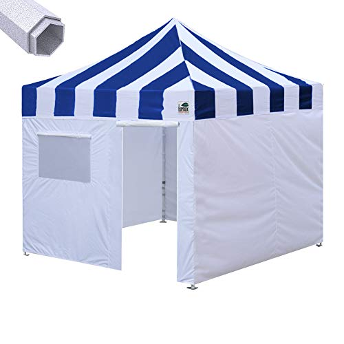 Eurmax Premium 10'x10' Ez Pop-up Canopy Tent Commercial Instant Canopies Shelter with Removable Sidewalls Bonus Wheeled Carry Bag (Striped Blue)