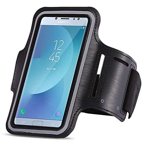 Jogging Tasche Handy passend für Samsung Galaxy J5 2017 Duos Hülle Sportarmband Fitnesstasche, Farben:Schwarz