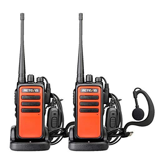 Retevis RT666 Walkie Talkie PMR446 Licentievrije 16 Kanalen CTCSS/DCS Oplaadbare Portofoons Scan Squelch Walkietalkie met Headset (1 Paar, Oranje)