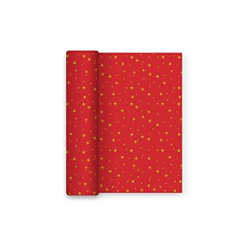 Mantel Navidad papel decorado estrellas - Rojo dorado