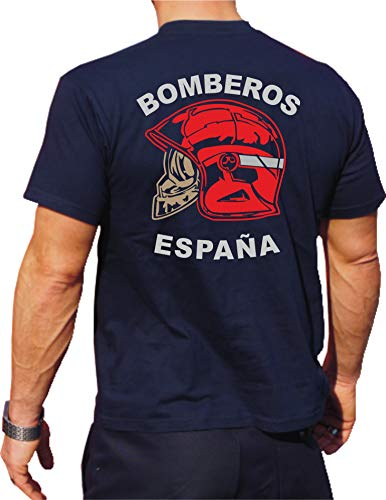 fuego1 T-Shirt/Camiseta (Navy/Azul) Bomberos ESPAÑA, Casco Rojo, Bandera española M