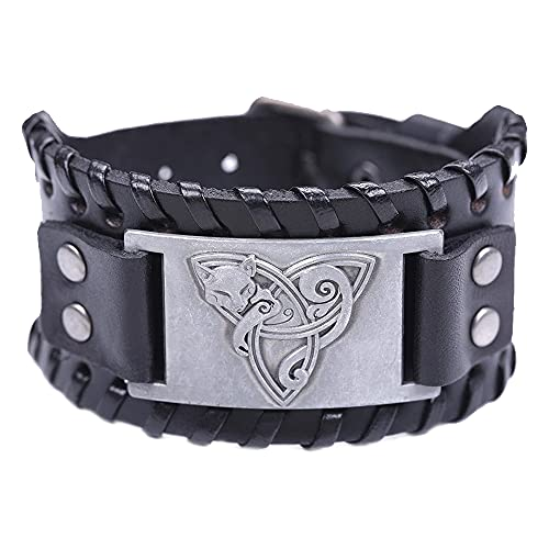 TURTLEDOVE Viking Bracelet Celtic Fox - Nordic Bracelet with Triquetra Trinity Knot - Pagan Jewelry of Talisman