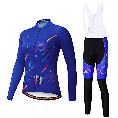 OHGGB Women Long Sleeve Cycling Jersey and 9D Gel Bib Pants Set Mountain Riding Lightweight Breathable Quick Dry for Outdoor Riding,A,M